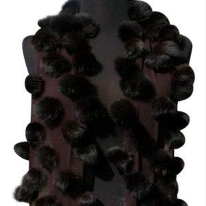 Cache Expresso Dark Brown Mink Fox Fur Wrap Shawl